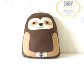 Sloth Sewing Pattern, Hand Sewing Felt Sloth Softie, Instant Download PDF, Sloth Stuffie Pattern