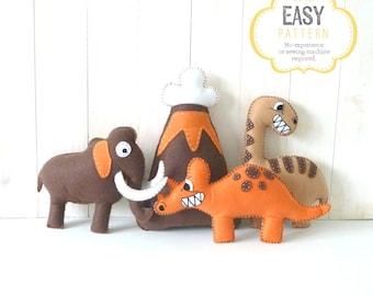 Dinosaur Patterns, Felt Dinos, Dino Sewing Patterns, Triceratops Brontosaurus Woolly Mammoth Patterns, Dinosaur Plush Toys