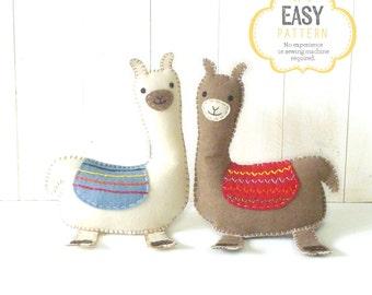 Llama Sewing Pattern, Felt Llama Pattern, Llama Plushie, Llama Softie, Llama Stuffed Animal, Stuffed Alpaca