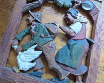 Hand Carved and Numbered Folk Art Wall Hanging 1930s