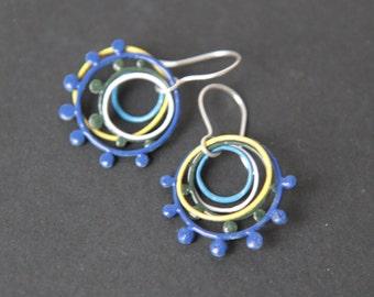 Sterling silver colorful jypsy earrings with enamel