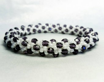 Pearl and Purple Glass and Seed Bead Crochet Bangle - Ready to Ship