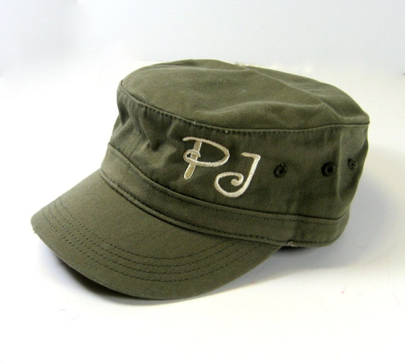Distressed Military Style Cap in Olive Green