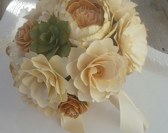 Paper Bouquet - Paper Flower Bouquet - Wedding Bouquet - Ivory and Gold with Succulents - Custom Made - Any Color