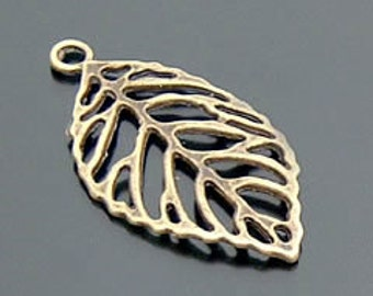 20 Bulk  Leaf Antiqued Bronze Charm Pendant 44x26mm B99