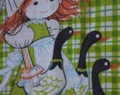 Little Redhead Garden Girl Vintage Twin Flat Sheet