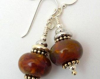 Lampwork Bead Earrings, Brown Bead Earrings, Art Beads, Handmade Bead Earrings,Flamework, Marcie Page, Emerald City Art Glass