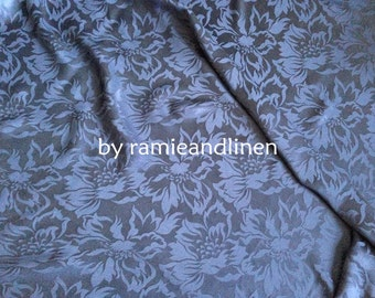 "silk fabric, 100% pure silk floral jacquard fabric, navy blue, dress fabric, one yard by 44"" wide"