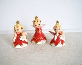 Vintage Lefton Christmas Angels - Christmas Decorations - Bell Angels - Naughty Sisters - 1956