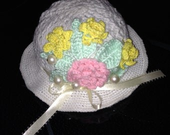 Crocheted Spring Flower Hat