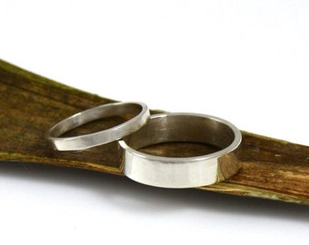 His and Hers Wedding Rings - Sterling Silver Rings Wedding Bands - Made in your size by Gioielli Designs