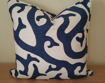 Navy blue coral design pillow cover with custom piping, cushion cover, select your size and color