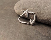 SALE Twisted Silver Ring, Sterling Silver Ring, Artisan Handmade Silver Ring, Silver Bracelet Link With Hearts