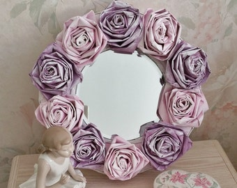 Decorative Mirror with Handmade Paper Rose Frame, Shabby Cottage Chic Decor, Floral Home Accents