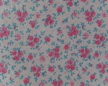 Shabby Cottage Chic Vintage Pink & Aqua Rose Floral Fabric