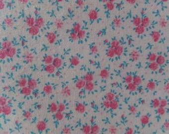 Shabby Cottage Chic Vintage Pink & Aqua Rose Floral Fabric