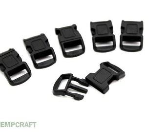 Black Paracord Buckles, 6pc, 12mm Bracelet Buckle, Side Release