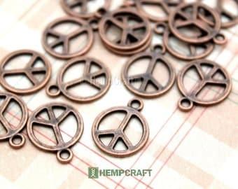 Peace Sign Charms, 12pc Copper Color Metal Bracelet Charms, 13mm