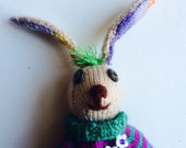 Rainbow-eared Rabbit: Beige bunny in a green and purple sweater