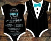 10 Tuxedo Baby Shower Invitations, Black Tie invitation -- Onesie Die Cut shaped -- Double sided in any color