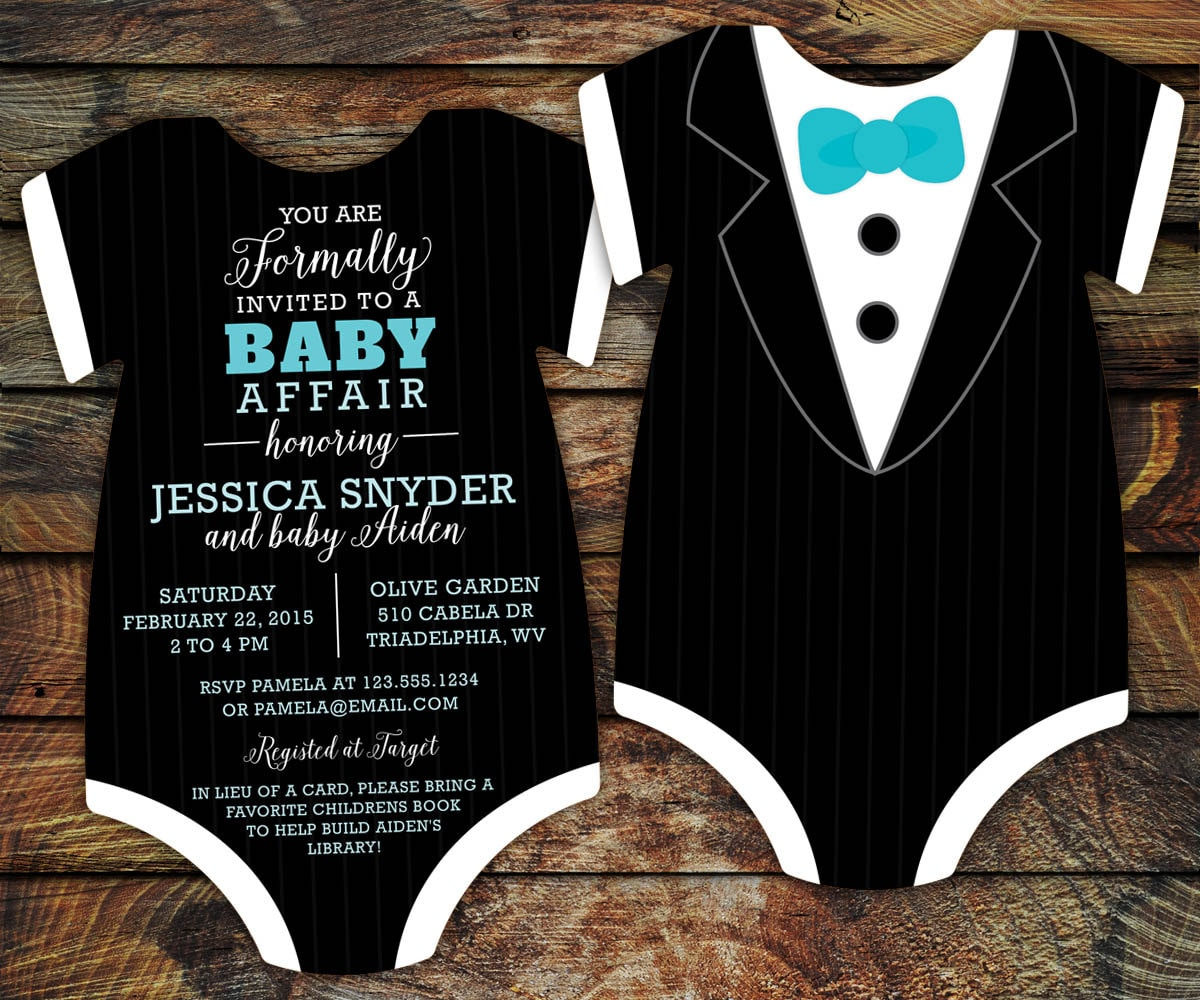 tuxedo baby shower invitations black tie invitation die, Baby shower invitations