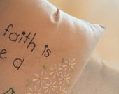 Pillow Faith Hand Embroidered Inspirational