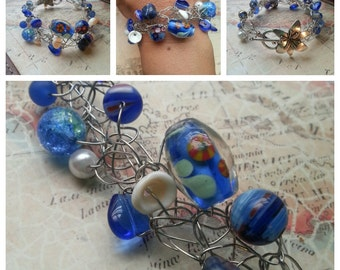 SALE. Cobalt Blue Wire Crocheted Bracelet. Something Blue. Sea Glass And Shells