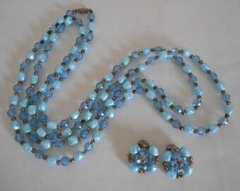 price slashed Vintage blue necklace and earring set