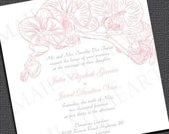 Orchid Wedding Invitation - Printable Wedding Invitation - Mail My Heart Invitations