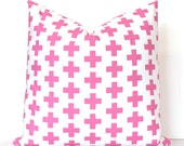 Pink Cross Decorative Designer Pillow Cover accent cushion bright pink fucshia rose blush white modern geometric crosses pop plus sign