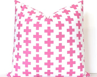 Pink Cross Decorative Designer Pillow Cover accent cushion bright pink fucshia rose blush white modern geometric crosses pop plus sign