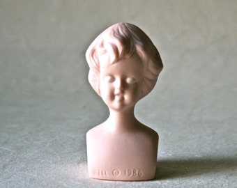 Vintage Porcelain Bisque Doll Head or Bust Featuring Short Bob Haircut for Doll Making