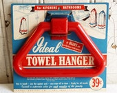 Vintage Red Plastic Towel Holder - Unused and on Original Packaging Card - Mid-Century 1950s - Camper, Cottage or Retro Kitchen