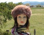 Brown Beige Alpaca Knit Felt Furry Tam Beret Hat Crusher
