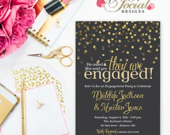 Glitter Glam Confetti Engagement Party Invitation with Gold GREY BACKGROUND