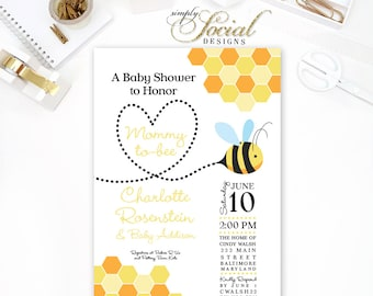 Honey Bee Baby Shower Invitation Mommy to Bee PRINTABLE