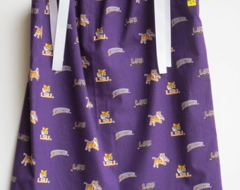 "LSU Purple 24"" Long Pillowcase Dress With White Ties - Other Patterns Available OR Custom Made"