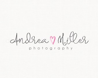 watercolor heart logo with handwriting text premade logo design photography logo graphic design watermark logo design photographers logo