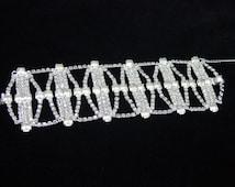 Wide Rhinestone Bracelet, Vintage Jewelry, Runway Bracelet, Clear Rhinestone, Baguette Bracelet, Wedding Jewelry, Bracelet