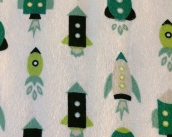 Teal Rockets - Cotton FLANNEL Fabric - BTY