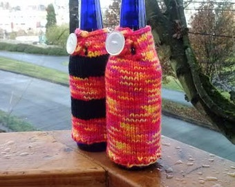 Bottle cozies, set of 2, with button loop closure, vegan