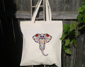 Eco Friendly Canvas Tote Bag - Reusable Grocery Bags - Beat It - Elephant