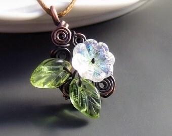 Fairy necklace, copper necklace, garden botanical jewelry, rustic copper pendant for garden wedding