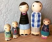 Large Family of 5 Custom Wood Peg Dolls