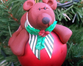 Bear Polymer Clay Christmas Ornament