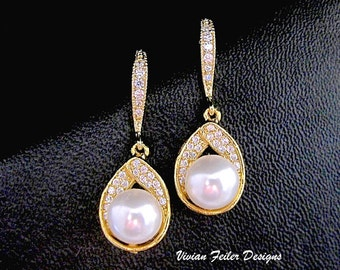 Bridal Earrings Pearl GOLD Wedding Jewelry CZ Bridesmaid Gift Pearl Jewelry Cubic Zirconia White/Ivory Pearl