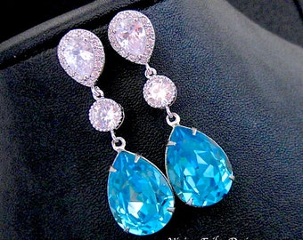 TEAL Blue Earrings  AQUa Turquoise TIFFAN BLUE Wedding Jewelry Cubic Zirconia Bridal Bridesmaid Gift Mother of the Bride