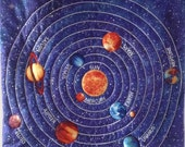 Solar System Space Large Quilted Wall Hanging