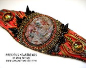 Bead Embroidery Bracelet  Cuff Gold  Bronze Red Fire - shibori silk ribbon - bead embroidered  - Daenerys Dragon Cuff -  fashion - OOAK