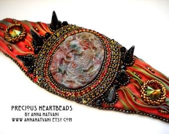 Bead Embroidery Bracelet  Cuff Gold  Bronze Red Fire - shibori silk ribbon - bead embroidered  - Daenerys Dragon Cuff -  fashion - OOAK